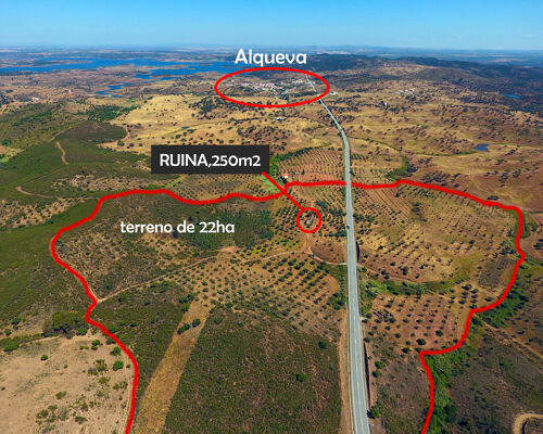 Terreno de 22ha com Ruina 250m2, Alqueva, Alentejo
